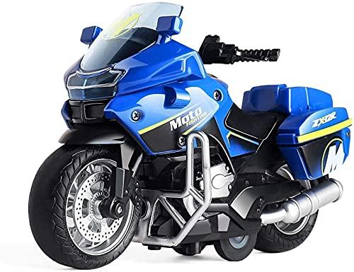 FXLYMR Lámpara de Pared Lámpara de Noche Toy Regalo Regalo Policía Motocicleta Juguete Pull Back Toy Car, Sonido Y Juguete Ligero, Motocicleta de Juguete de Niño, Juguete de 3-9 Años de Edad,Azul