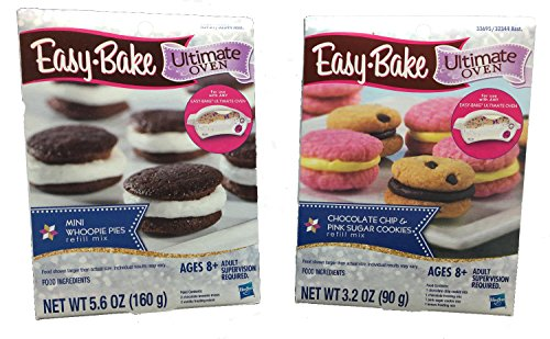 Easy Bake Chocolate Chip & Pink Sugar Cookies and Mini Whoopie Pies - 2 Refill Mix Packs