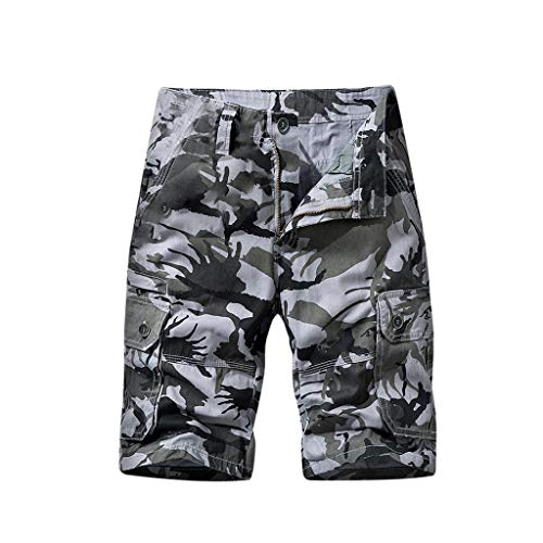 Briskorry - Pantalones cortos de deporte para hombre, diseño de camuflaje 32 gris