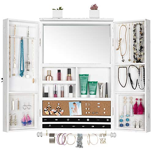 Large Rustic Wall Mounted Jewelry Organizer with Wooden Barndoor Decor. Jewelry holder for Necklaces, Earings, Bracelets, Ring Holder, and Accessories. Includes built-in mirror (Distressed White).