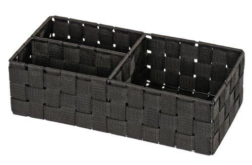 WENKO Organizer Adria Schwarz - Aufbewahrungsbox, 3 Fächer, Polypropylen, 35 x 10 x 17 cm, Schwarz