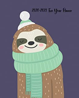 2020-2021 Two Year Planner: Winter Loving Cool Weather Sloth Cover on a Weekly Monthly Planner Organizer. Perfect 2 Year M...
