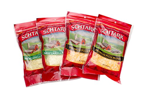 Schtark Super Kosher Mozzarella and Pizza Shred Cheese Combo, 8 Ounce (Pack of 4)