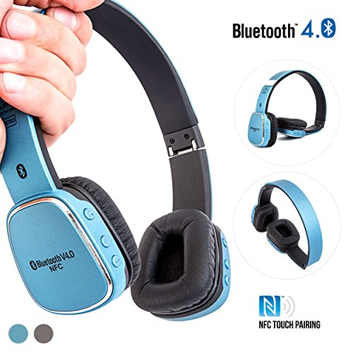 Alpatronix HX110 On-Ear Wireless Bluetooth Headphones & High Performance BT 4.0 Headset with NFC, Mic & Universal Lightweight Noise Isolation Earphones for Smartphones, Computers & Tablets - Blue