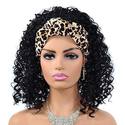 peluca,Peluca de pelo con estampado de leopardo y turbante para mujer, cubierta de peluca con turbante para mujeres africanas rizadas medianas y largas