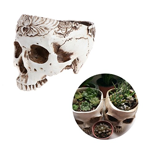Timberlark Resin Realistic Skull Head Model Flower Pot Planter Container Home/Garden/Bar Ornament