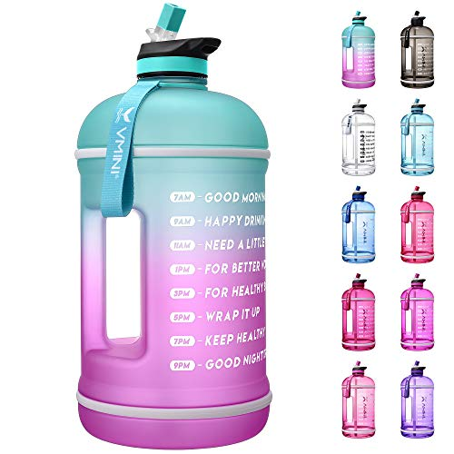 Vmini Water Bottle with Time Marker, Motivational Water Bottle & 1 Gallon Water Bottle with Time Marker to Drink More Daily - Leakproof Reusable Gym Sports Outdoor Large Capacity (Mint and Purple)