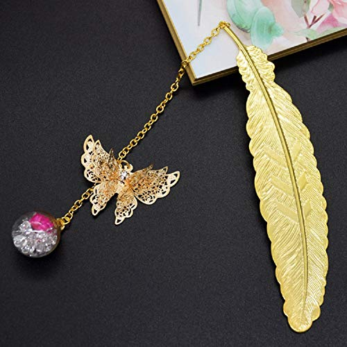 Gold Metal Feather Bookmark +Natrual Leaf Vein Bookmarks with 3D Butterfly Pendant and Eternal Flower, Exquisite Small Page Mark for Readers Women Kids Girls Students Gift, 2-Pack