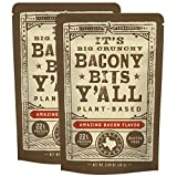 All Y'alls Foods Vegan Bacon Bits - Big and Crunchy - Plant Based, Non-GMO, Gluten Free, High Protein (2-Pack)