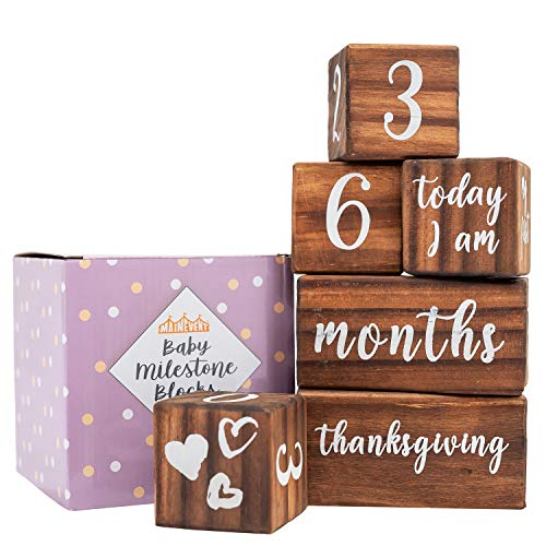 Baby Monthly Milestone Blocks - 6 Blocks Safe for Baby, The Most Complete Set for Pregnancy, Infant and Toddler Years, Baby Photography Props for Social Media, Rustic Baby Nursery Decor (Dark Brown)