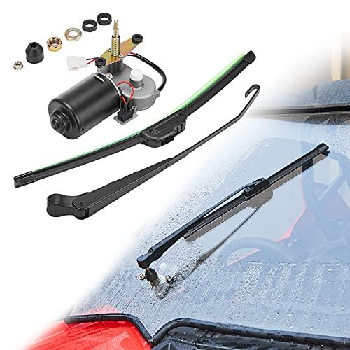 Kemimoto 12V Electric Windshield Wiper Motor Kit, Universal Compatible with most UTV RZR Ranger 570 900 1000, 2020 Defender Pro, 16 Inch Wiper Blade
