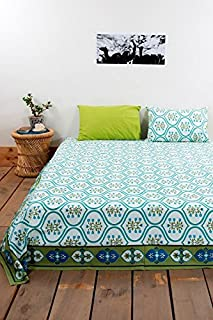 traditional mafia Luxury Collection-Printed Double Bed Sheet Set with 2 Pillow Covers, King Size, Blue