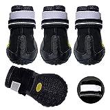 4PCS Botas para Perros con Zapatos Reflectantes Impermeables para Perros Calcetines Cálidos Antideslizantes Calzado para Exteriores para Perros Medianos a Grandes,7