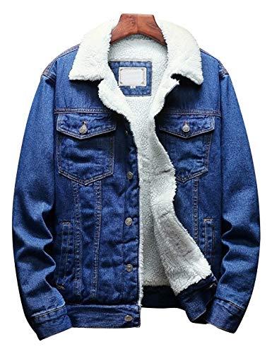 Omoone Men's Lapel Sherpa Fleece Lined Thicken Denim Jean Trucker Jacket Coats (0176-Dark Blue-M)