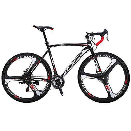 EUROBIKE 550 Road Bikes Steel Bicycle 700C disc Brake 21 Speed 3-Spoke Wheels Road Bike