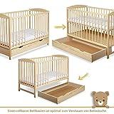 Gitterbett Babybett 2in1 60x120 mit Schublade Schlupfsprossen und Lattenrost Höhenverstellbar Umbaubar zum Juniorbett für Mädchen und Junge - 2