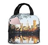 Bolsa de almuerzo con aislamiento de New York Central Park para mujeres y hombres, bolsa de almuerzo reutilizable, organizador de caja de almuerzo, bolsa refrigeradora con bolsillo frontal