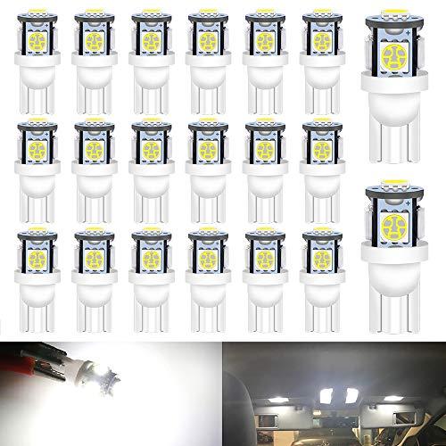 DEFVNSY 194 Bombillas LED Blanco Superbrillante 5050 Chipset 5SMD, T10 2825 168 Bombillas LED para 12 V Interior de Coche Domo Mapa Puerta Luces de matrícula de cortesía (Paquete de 20)