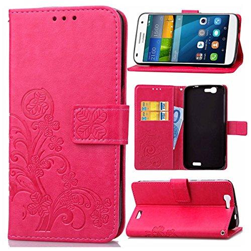 pinlu Schutzhülle Für Huawei Ascend G7 (5.5zoll) Handyhülle Hohe Qualität PU Ledertasche Brieftasche Mit Stand Function Innenschlitzen Design Glücklich Klee Muster Rot
