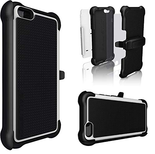 Ballistic for iPhone 6S Plus / 6 Plus Holster Case,TJ Tough Jacket Maxx, Screen Protector, Rugged and Heavy Duty Defender Cover W/Belt Clip Holder (Black/White)