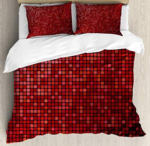 HUNKKY - Parure de lit avec housse de couette - Motif abstrait ombré - Pixels - Technologie numérique - Carrelage - Queen size - Rouge écarlate
