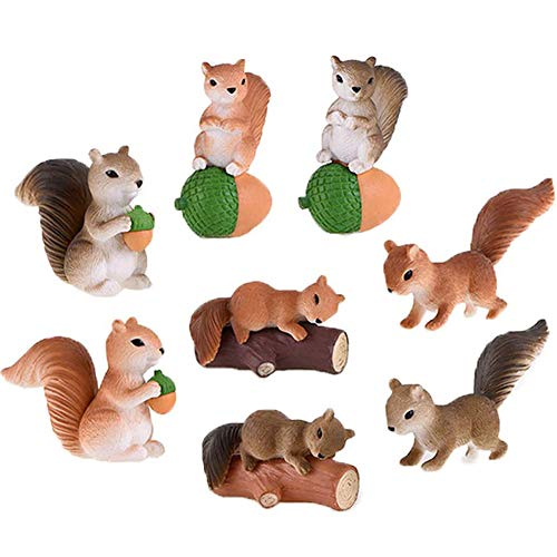 8 Pcs Squirrel Figures for Kids, Animal Toys Set Cake Toppers, Squirrel Fairy Garden Miniature Figurines Collection Playset for Christmas Birthday Gift Desk Decorations