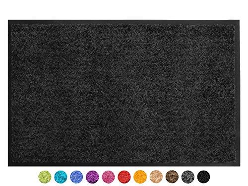 Primaflor - Ideen in Textil Schmutzfangmatte CLEAN – Schwarz 90x150 cm, Waschbare, rutschfeste, Pflegeleichte Fußmatte, Eingangsmatte, Küchenläufer Sauberlauf-Matte, Türvorleger für Innen & Außen