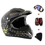 GreenRibbon 4pcs Cascos de Motocros Casco de Cross Adulto Fantastic FS945 con Gafas Protectoras Guantes Mask (D)