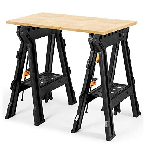 AVGDeals 2 Pack Folding Sawhorse with Bar Clamps | Makes getting work done easier at home or on the job site.