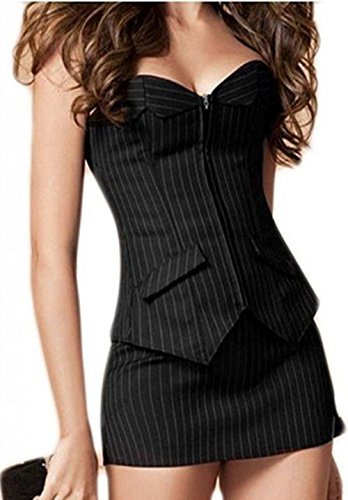 Mujer Completo Pecho corsé Vestido Corpiño Corsé Mini Rock Petticoat übergrößen S de 6x l Negro XXXXL
