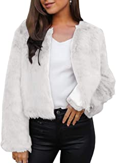 Womens Faux Fur Jacket Open Front Shaggy Long Sleeve Fashion Warm Outwear Coat