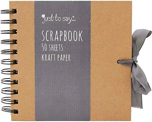 Tallon Kraft - Álbum de recortes de papel kraft con cinta (20 cm x 20 cm, 50 hojas), color marrón