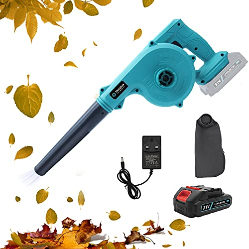 Haoyeya 2 in 1 Cordless Leaf Blower 21V Electric Handheld Sweeper Vacuum with 2.0Ah Lithium Battery 68000H and Charger for Blowing Leaf Cleaning Dust Small Trash Car Corner Cleaning