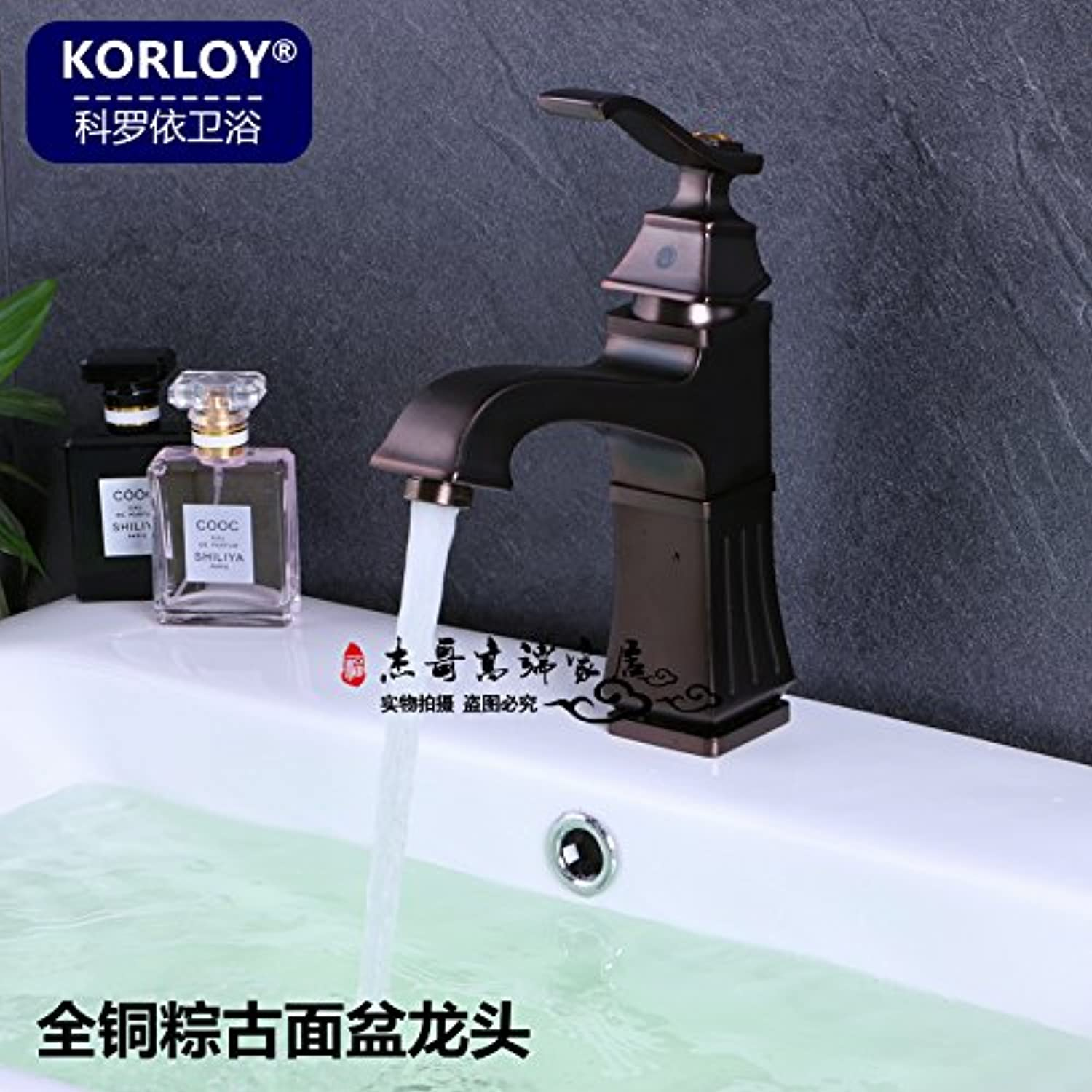 Lalaky Taps Faucet Kitchen Mixer Sink Waterfall Bathroom Mixer Basin Mixer Tap for Kitchen Bathroom and Washroom Copper Hot and Cold Single Hole 粽古拉丝