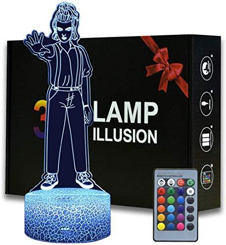 Eleven Stranger Things 3D Night Light per bambini, 16 colori che cambiano la luce notturna con telecomando lampada da comodino, regalo di compleanno per bambini e adulti
