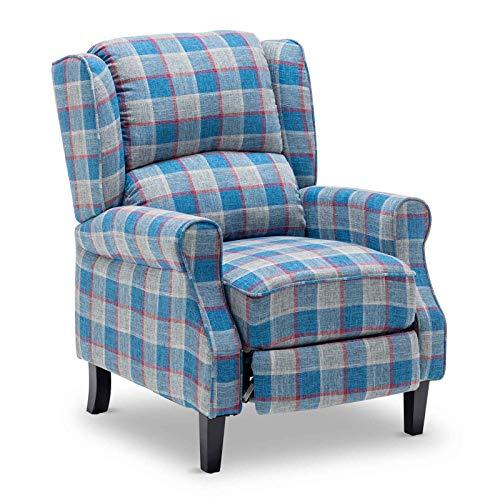 Apelila - Sillón reclinable de tartán con respaldo ajustable y reposapiés para casa, salón, color azul