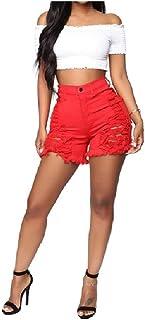 Winwinus Women's Casual Slim-Fit High Waist Ripped Oversized Shorts