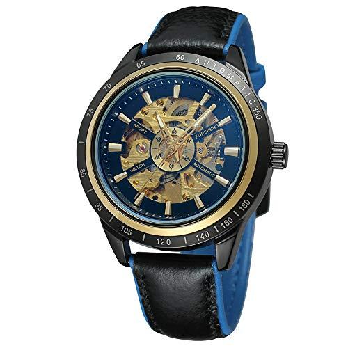 Cloudbox Reloj mecánico - Reloj mecánico automático masculino correa de cuero redondo negro + azul para hombre