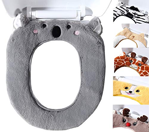 Dream Bridge Bathroom Warmer Toilet Seat Covers Cute Plush Thickened Toilet Seat Cushion Restroom Soft Cartoon Seat Pad Toilet Decorative Gift