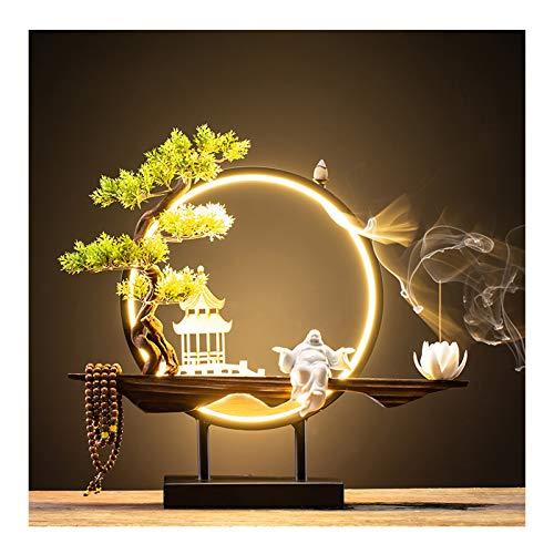 Porta Incienso Nuevo chino Reflujo quemador de incienso creativo Reflujo Incienso quemador Oficina Sala gabinete del vino aromaterapia Horno de la lámpara del anillo de sándalo decoración del hogar So