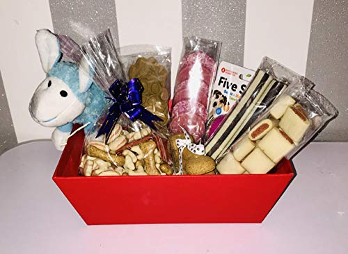 Four Paws Creations - Dog Treat Hamper - Full Of A Selection Of Dog Treats And Toys