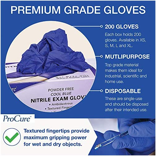 ProCure Disposable Nitrile Gloves Medium, 200 Count - Powder Free, Rubber Latex Free, Medical Exam Grade, Non Sterile…  