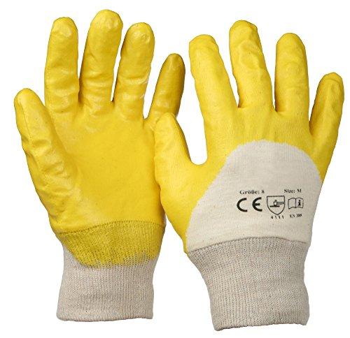 SBS® Nitrilhandschuhe | 12 Paar | Gelb | Gr. 7 S, 8 M, 9L, 10 XL, 11 XXL auswählbar| mit Strickbund Nitril Handschuhe | Arbeitshandschuhe (8 M)