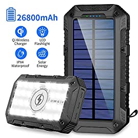Solar Charger 26800mAh,GRDE Wireless Portable Solar Power Bank Panel Charger with 28 LEDs and 3 USB Output Ports… 8 【WIRELESS &SOLAR POWER CHARGER】GRDE 26,800 mAh lit solar power bank especially for outdoor fanatics and indoor workers. More than portable solar power bank but qi portable charger as well compatible with iPhone 11/XR/ XR MAX/ XS/ X/ 8/ 8plus, Samsung Galaxy /Note 10+/S9/S9plus S8/S8plus and all qi-enabled devices. 【26800MAH HUGE CAPACITY】Our solar charger built in 26800mAh battery, it's enough to charge an iPhone 11 for 8 times, a Galaxy Note10+ for 6 times, an iPad Pro for 2 times! It can automatically adjust the output to deliver the most appropriate current, keep your devices from overcharging, over-current, over-voltage and short circuit, and don't need worry if your mobile device is out of power even in the hurricane days. 【SUPER BRIGHT 28LED LIGHT AND ABS MATERIAL】This solar phone charger built-in 28 LED lights, great illumination, it is a reliable choice for you to light up when traveling, camping, especially in dark situations or other emergency use for long run times, you could use as night lights.The USB power bank used ABS environmentally friendly material, stylish and decent.