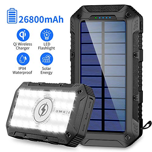 Solar Charger 26800mAh,GRDE Wireless Portable Solar Power Bank Panel Charger with 28 LEDs and 3 USB Output Ports External Backup Battery Huge Capacity...