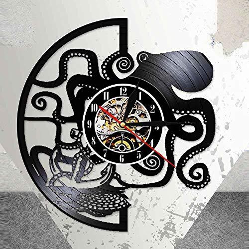 BFMBCHDJ Pulpo LED Lámpara de luz Nocturna Señal Devilfish Vintage Negro Reloj Colgante Poulp Vinyl Record Reloj de Pared con LED 12 Pulgadas