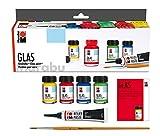 Marabu 130600087, Pintura de vidrio 'Glas' 4 x 15 ml + cepillo + pasta en relieve Negro