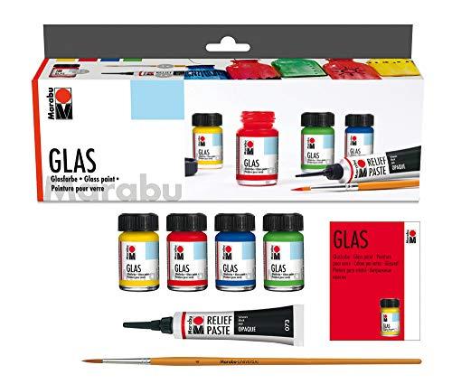 Marabu 1306000000087 - Glas Starter Set, leuchtende, transparente Farbe auf Wasserbasis, spülmaschinenfest ohne Einbrennen, speichelecht, 4 x 15 ml Farbe, 20 ml Reliefpaste und Pinsel