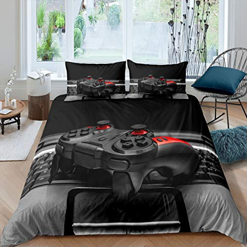 Feelyou Kids Gamepad Duvet Cover Gamer Bedding Set Video Game Comforter Cover for Boys Girls Children Teens Bedroom Decor Novelty Modern Game Controller Bedspread Cover Queen Size with 2 Pillow Case