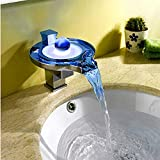 Cascada Color Changing LED Waterfall Bathroom Wall Mount Faucet (Chrome Finish) … (HDD727A)
